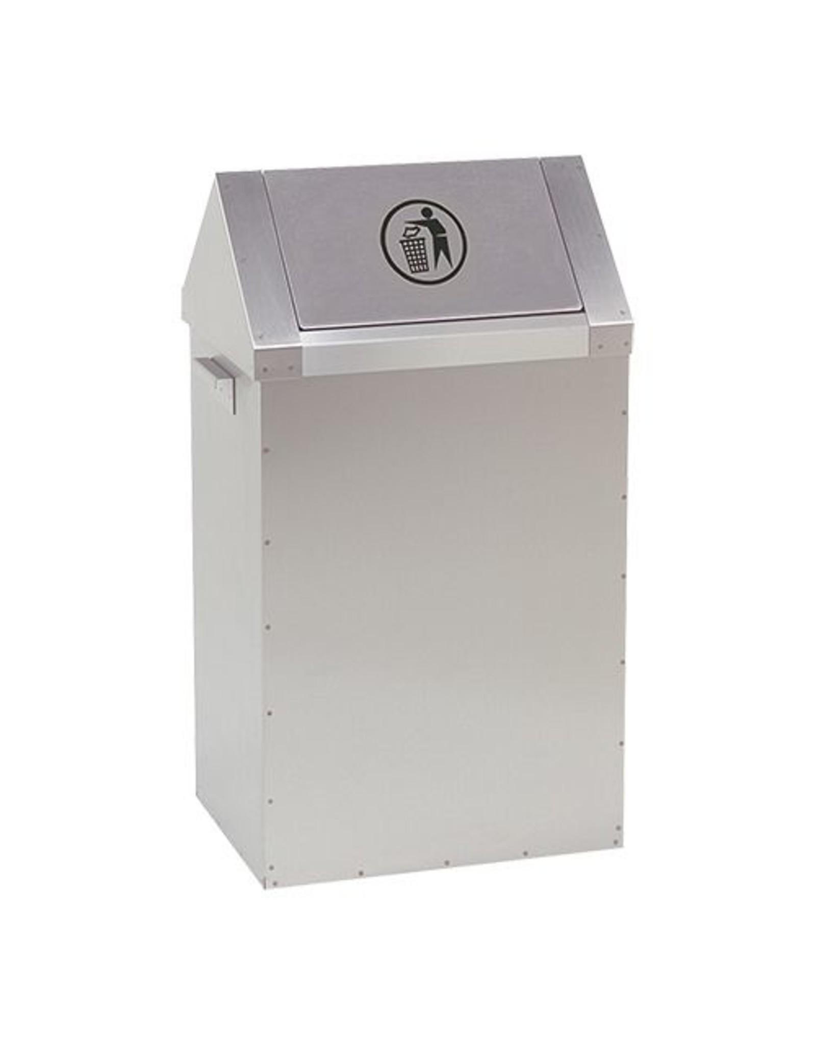 RVS afvalbak met tuimeldeksel | 65L | (H)73x(B)40x(D)30cm