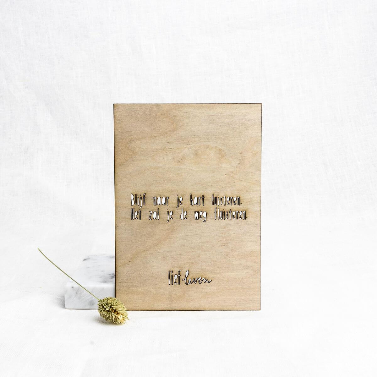 Houten kaart • Blijf naar je hart luisteren