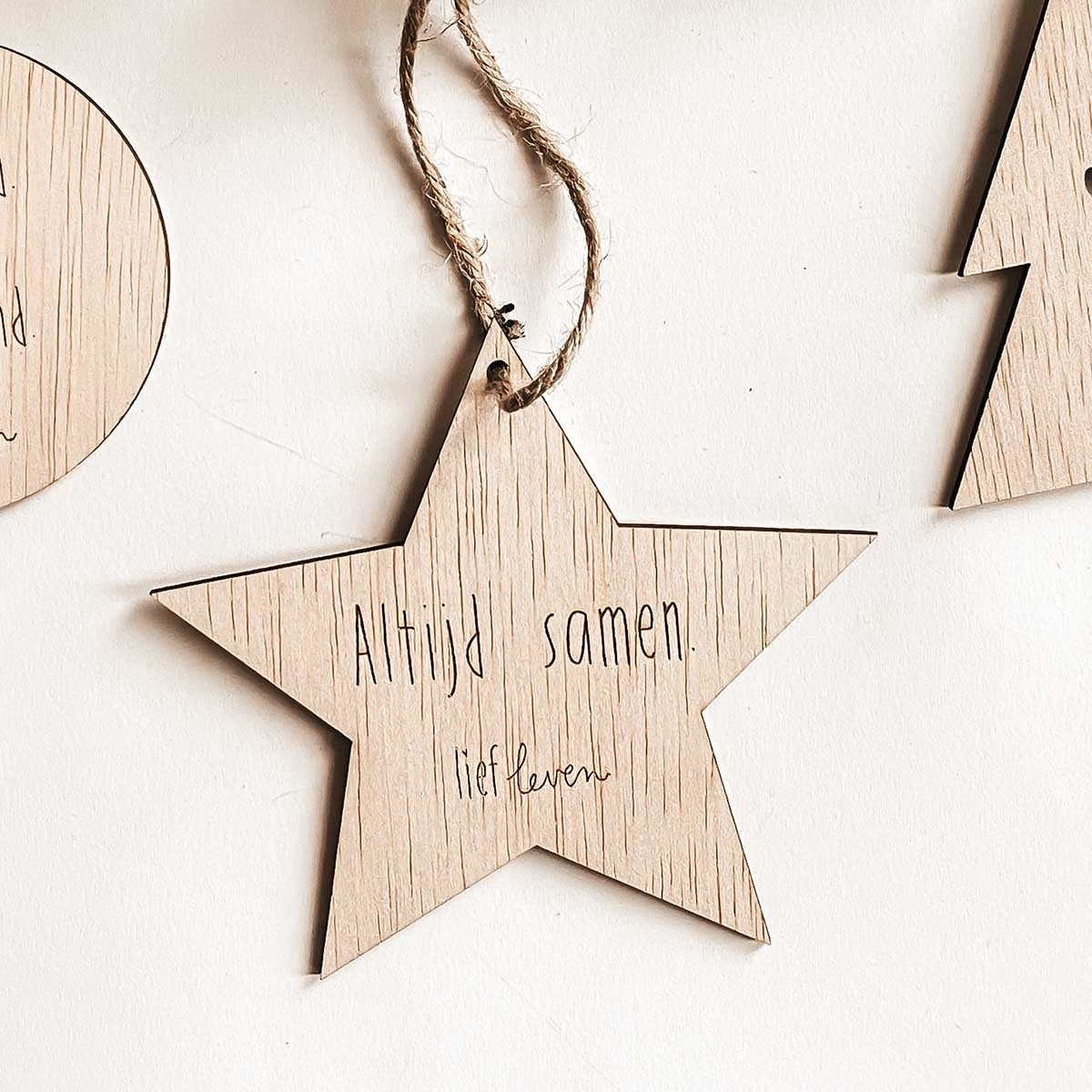 Kerstster hout • Altijd samen.