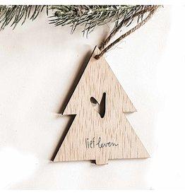 Kerstbal boom hout • Hart
