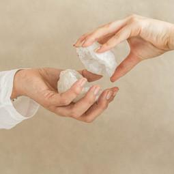 Bergkristal Geode paar 7-10 cm • beschermend