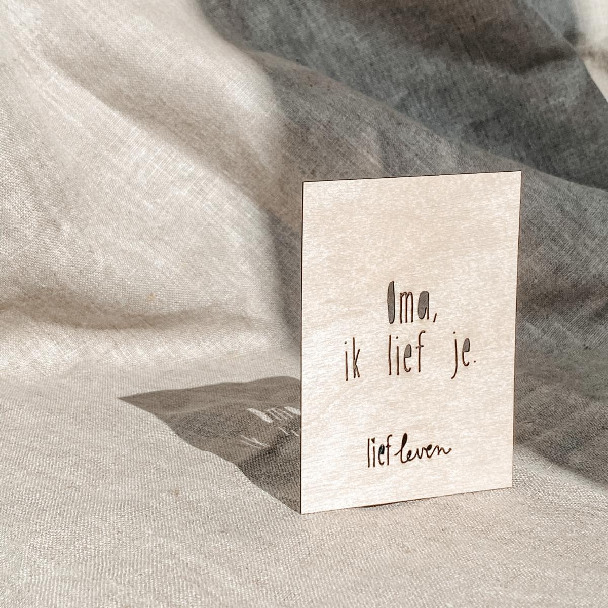 Houten kaartje • Oma