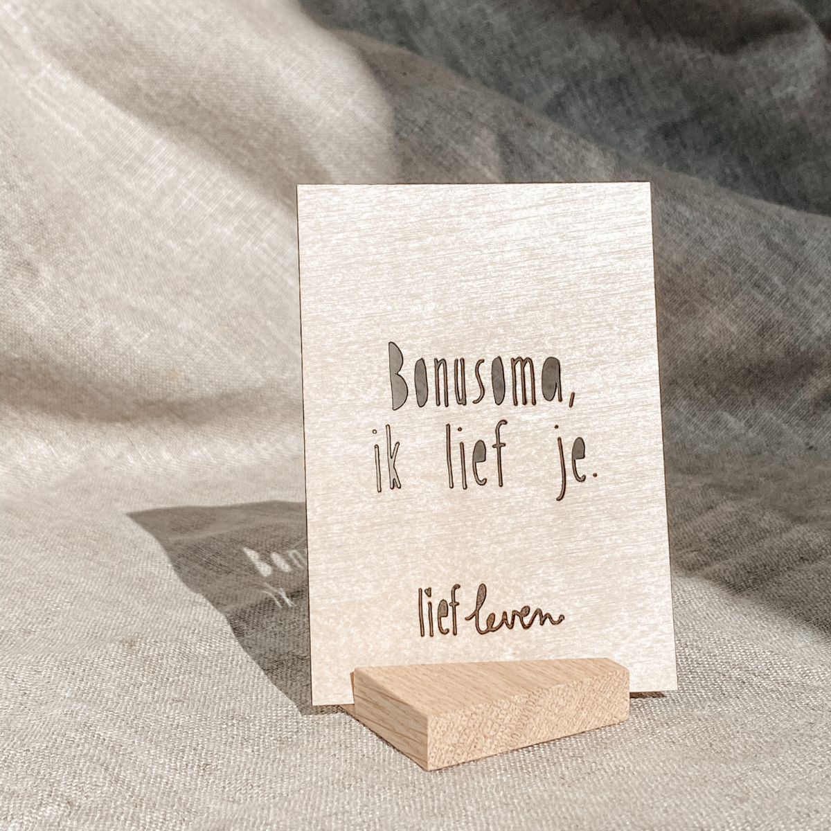 Houten kaartje • Bonusoma