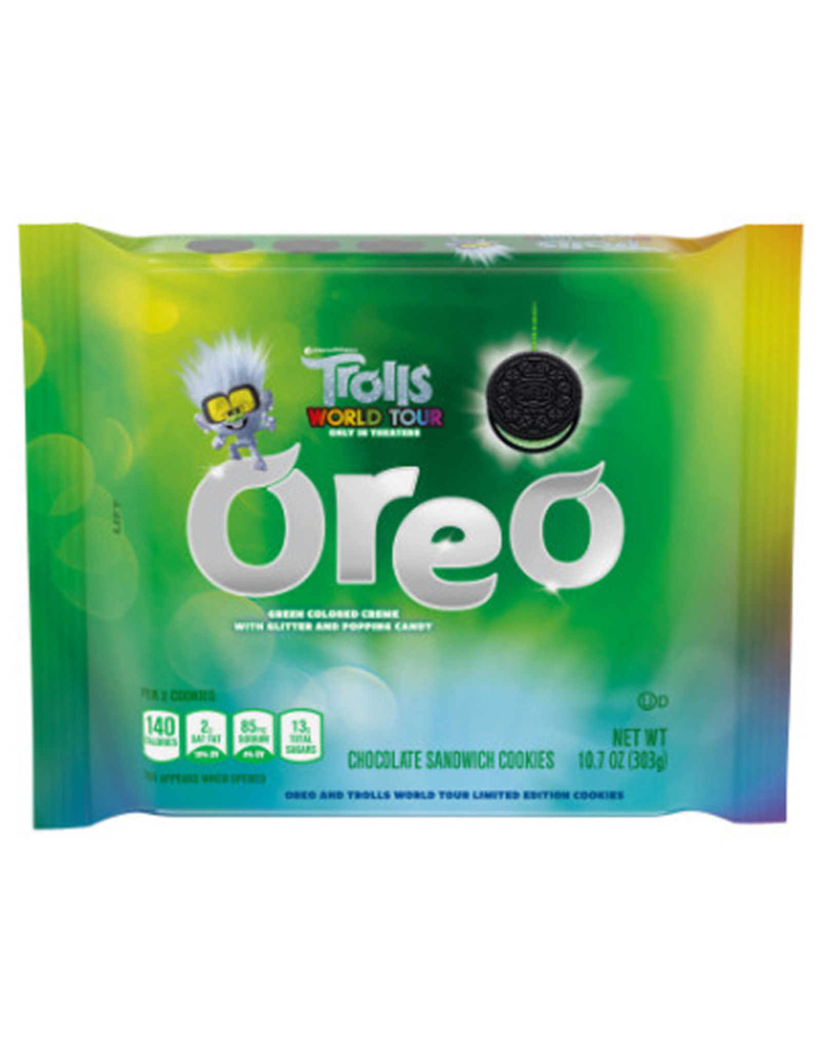 Oreo - Trolls World Tour Limited Edition - Green Colored Cream With Popping Candy - 303g