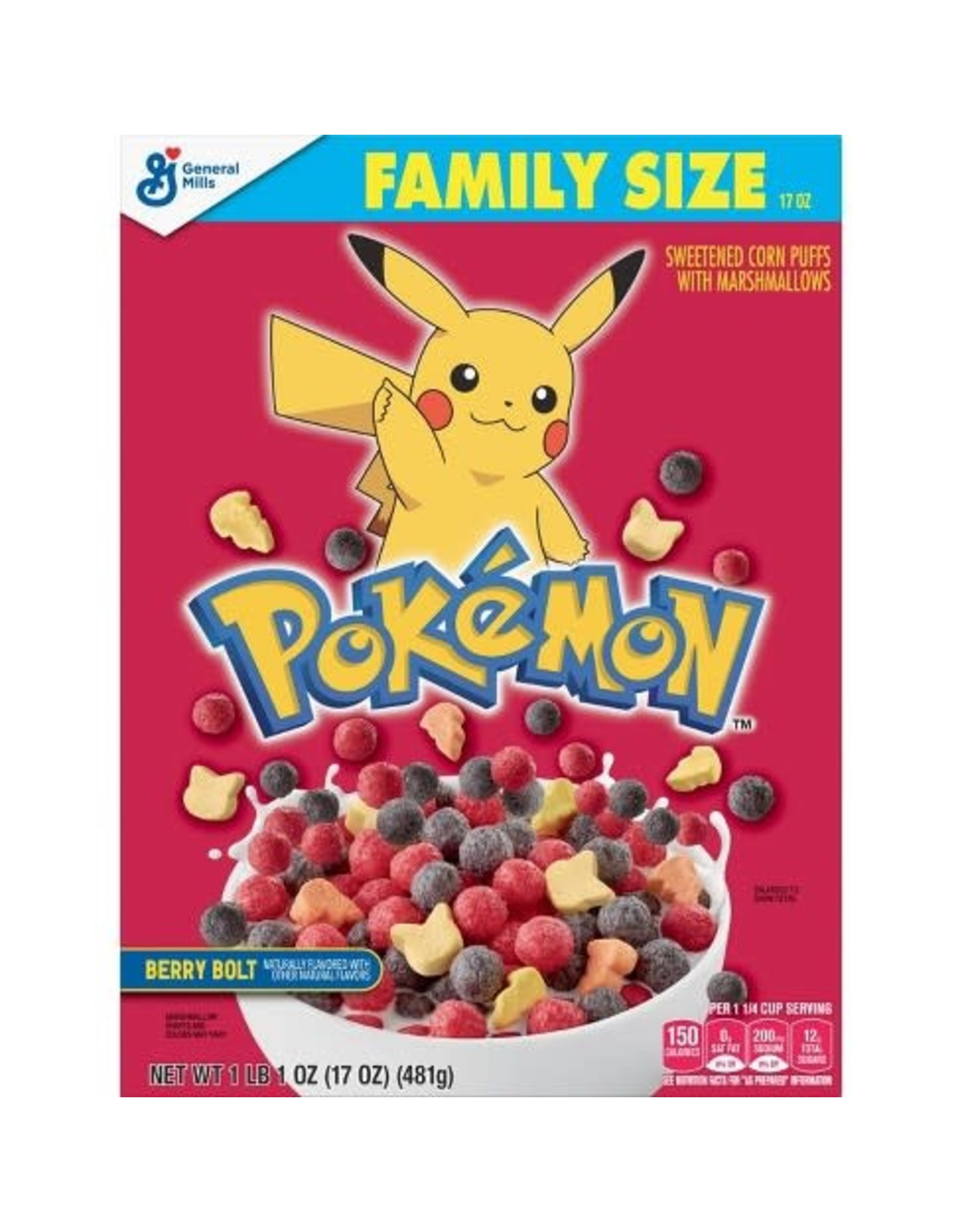 Pokémon Berry Bolt Cereal - Family Size - 481 g - Sweetend Corn Puffs With Marshmallows