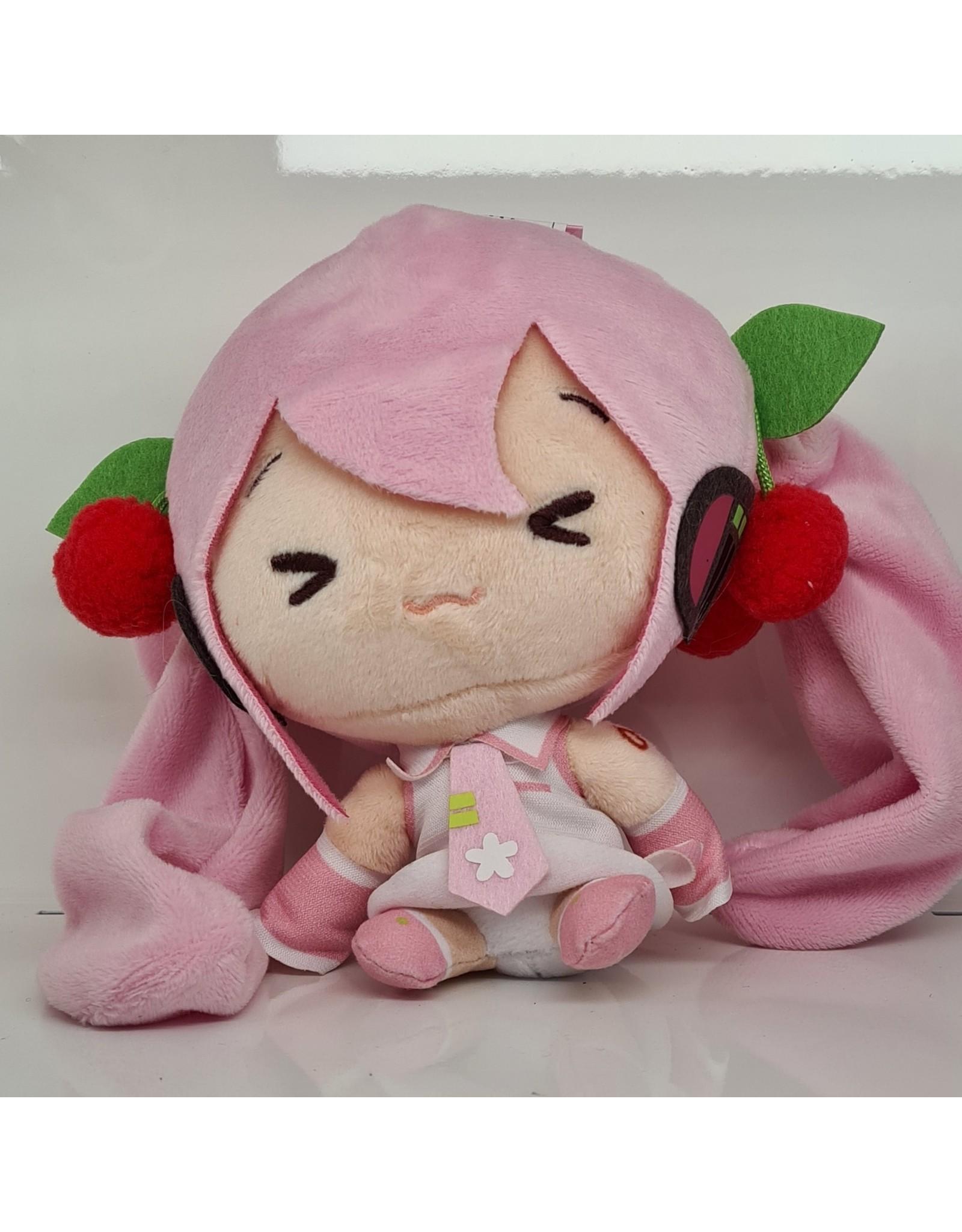 Hatsune Miku Cute Plush Sakura Miku Version - Eyes Closed - 14 cm
