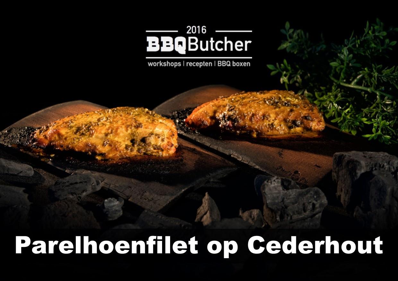 Parelhoenfilet op Cederhout