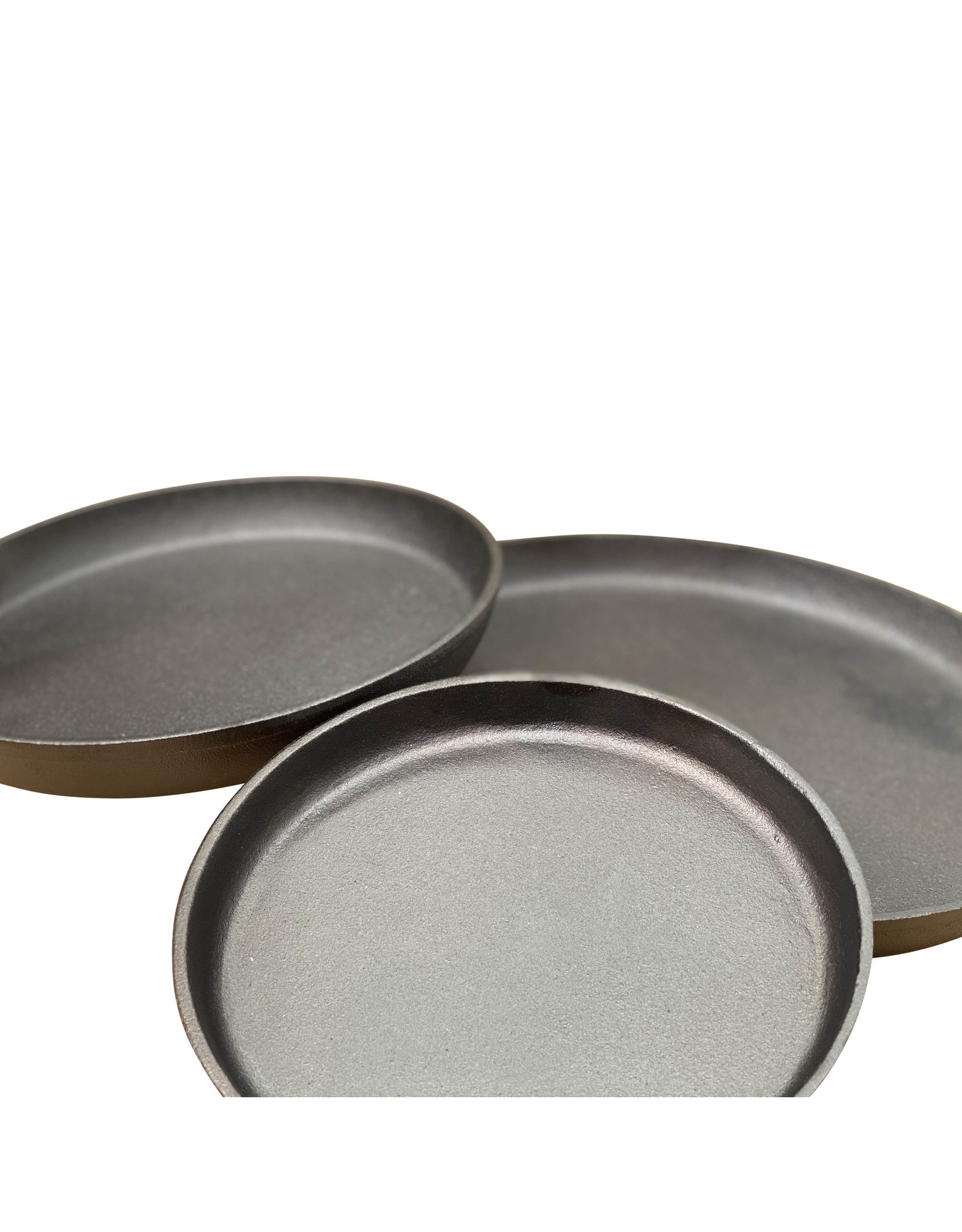 Keij Kamado® Set gietijzeren ronde steakplaten met losse handle - 20,5, 25 en 32 cm