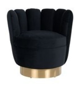 Richmond Interiors Fauteuil mayfair  black velvet/brushed gold