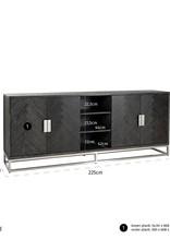 Dressoir Blackbone silver 4-deuren + open vak zilver