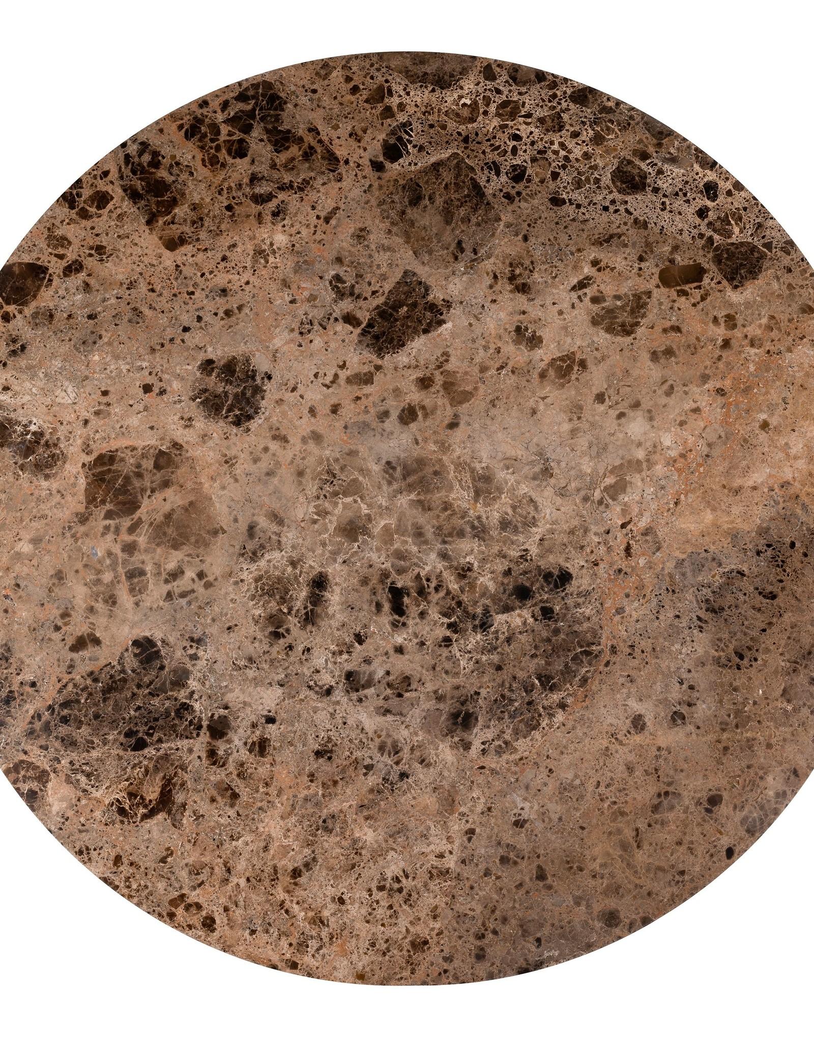 Richmond Interiors Eettafel Orion 140Ø met bruin marmer