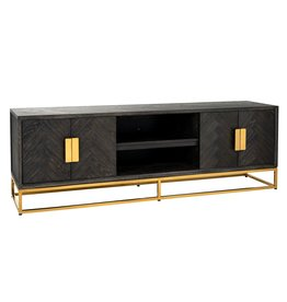 Richmond Interiors TV-dressoir 185 Blackbone gold 4-deuren