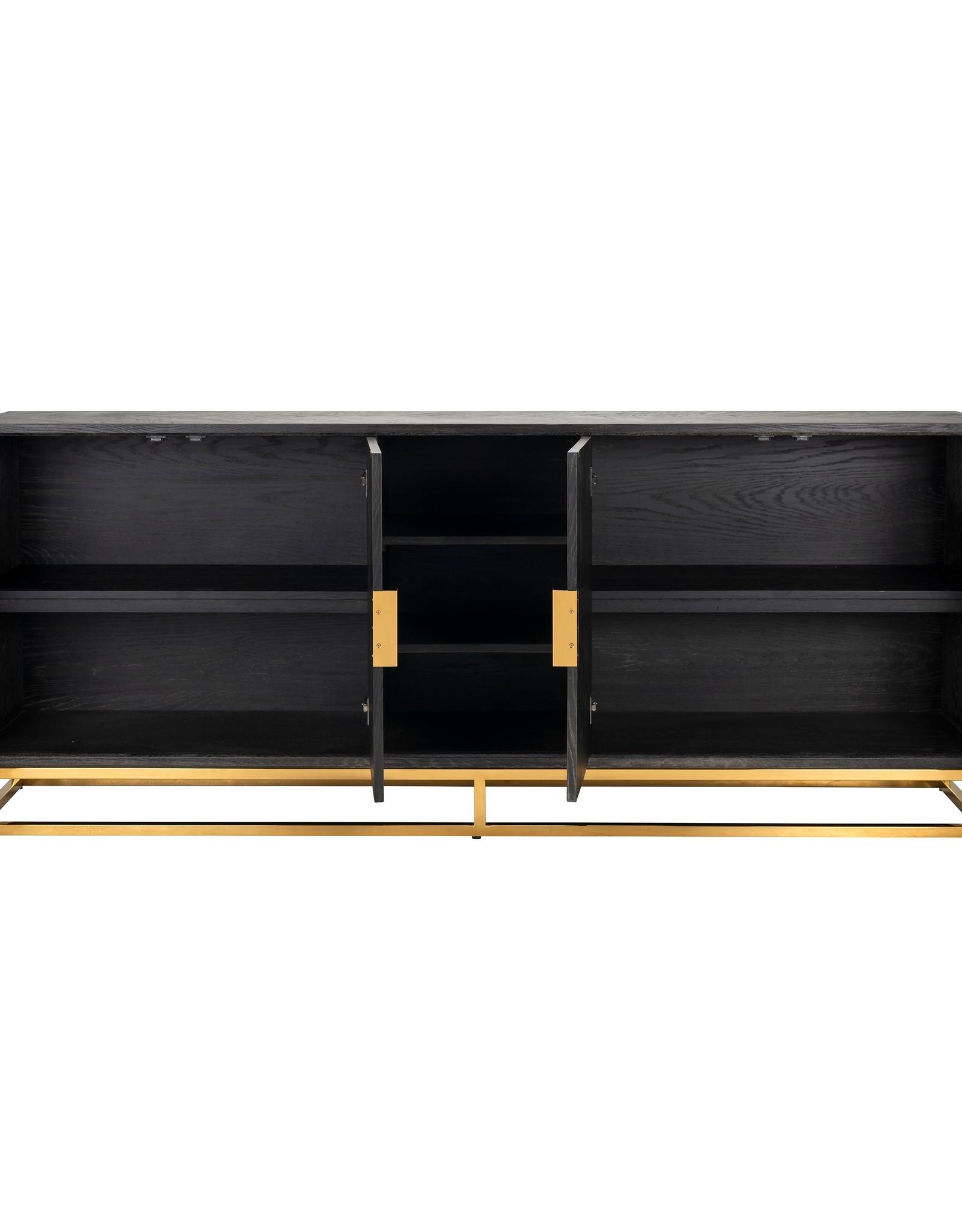 Richmond Interiors Dressoir Blackbone gold 4-deuren + open vak