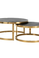 Richmond Interiors Salontafel Blackbone gold set van 2 rond