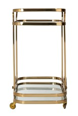Richmond Interiors Trolley X.O. goud met glas (Goud)