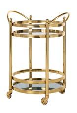 Richmond Interiors Trolley Hendricks rond goud met glas (Goud)