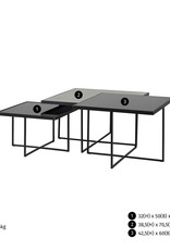 Richmond Interiors Salontafel Chester set van 3 vierkant (Zilver)