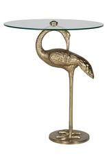 Richmond Interiors Bijzettafel Flamingo met glas (Goud)