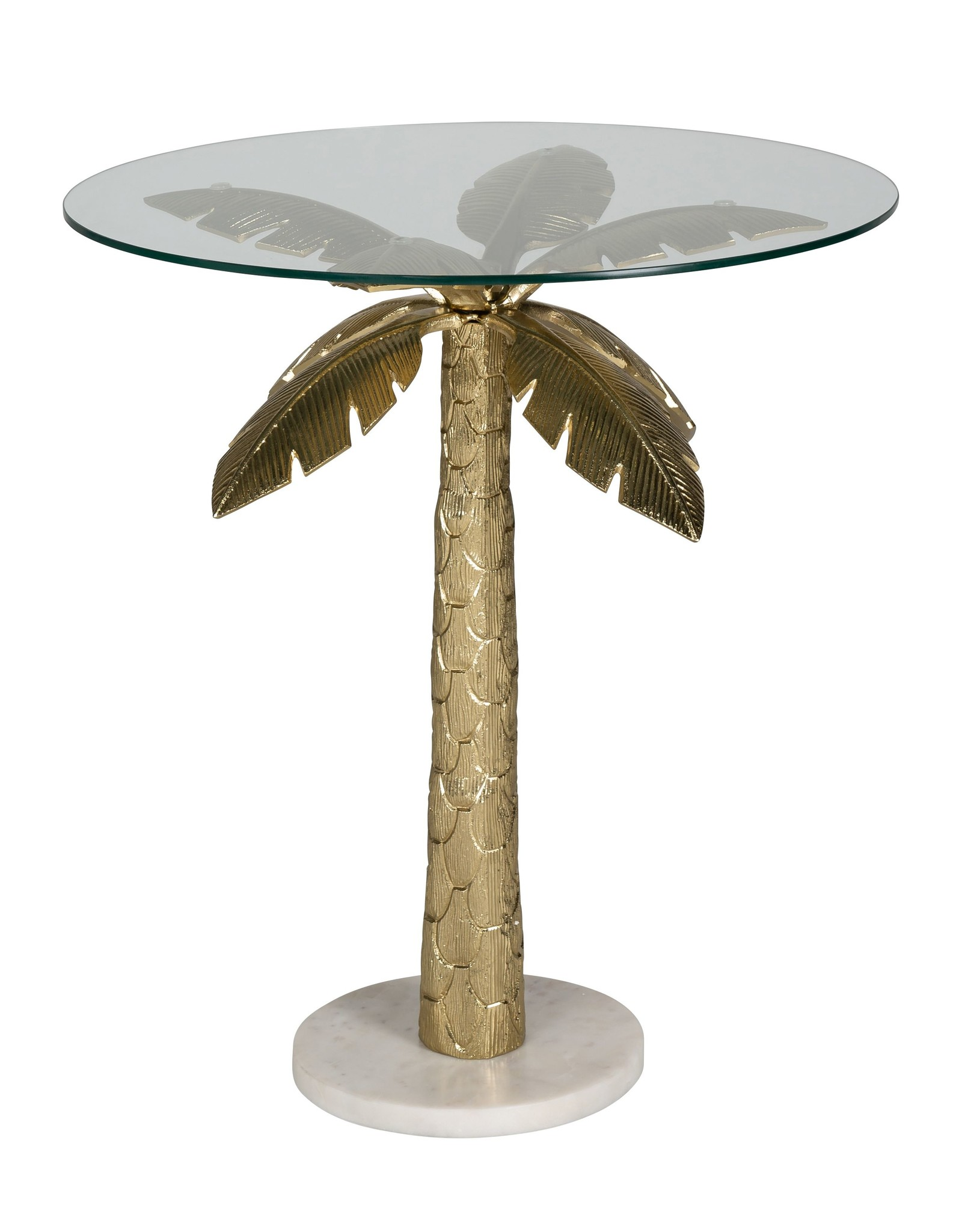 Richmond Interiors Bijzettafel Palm met glas (Goud)
