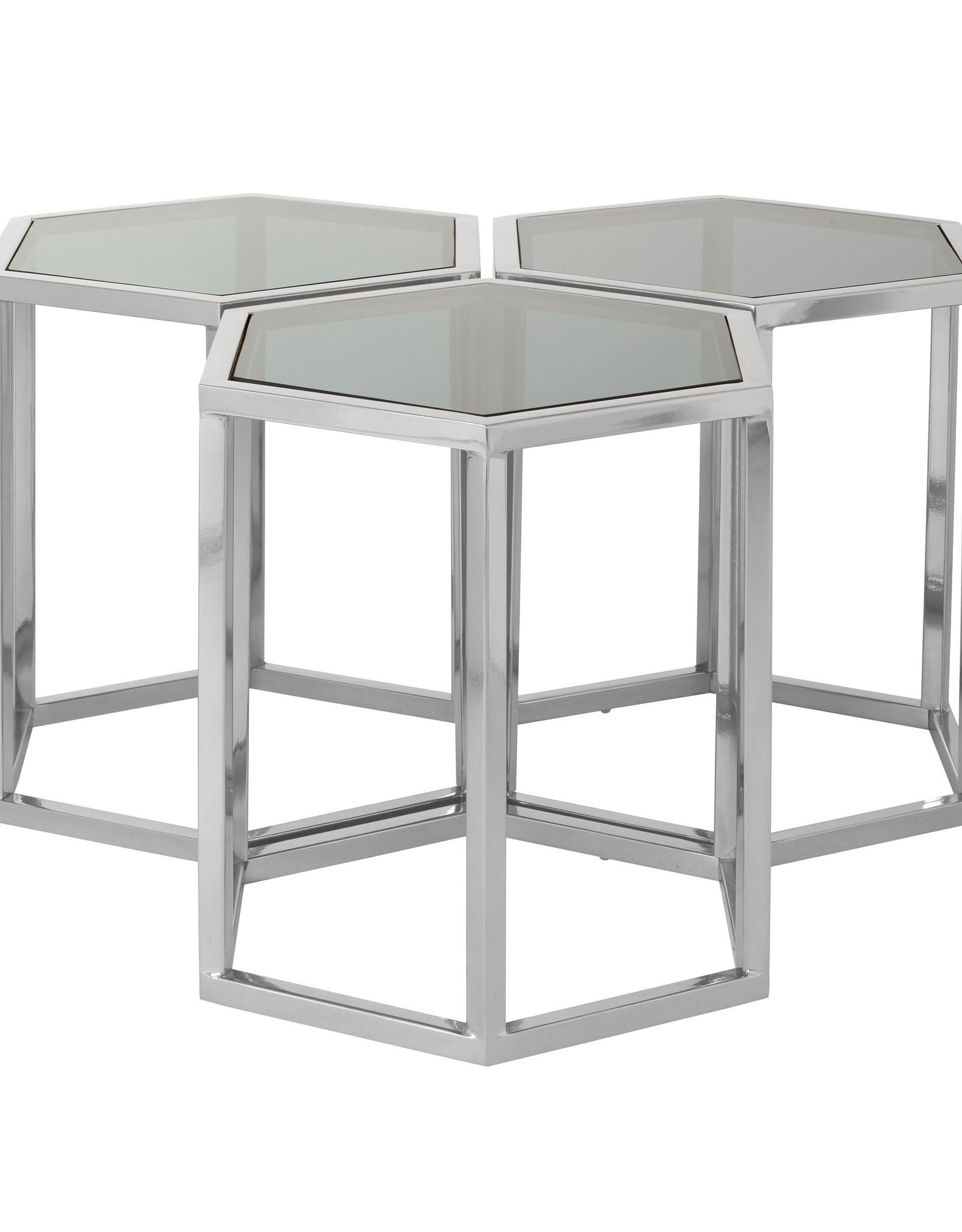 Richmond Interiors Salontafel Penta set van 3 zeshoek zilver (Zilver)