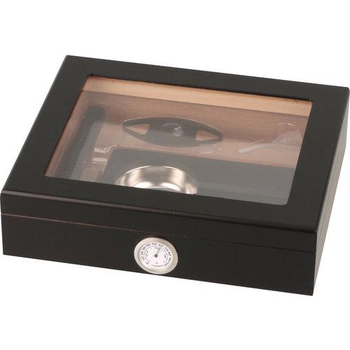 Classic Humidor Set Glasdeckel schwarz