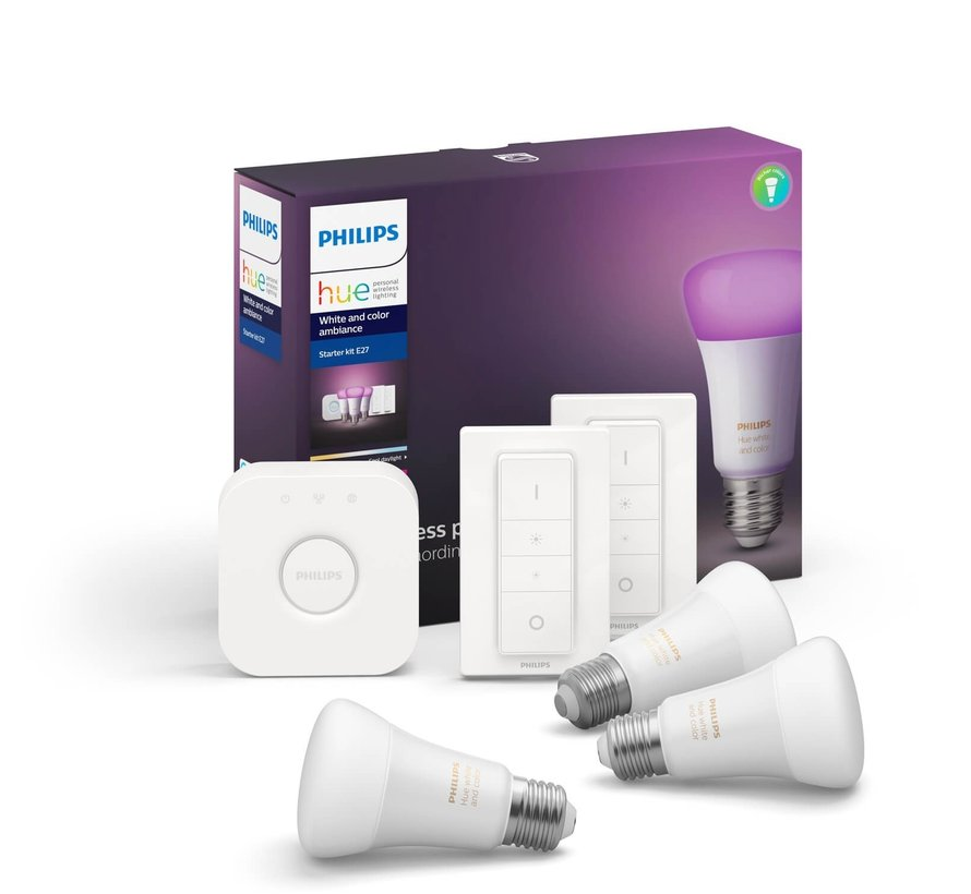 Philips Hue White & Color E27 Starter 3-Pack + 2 dimmers