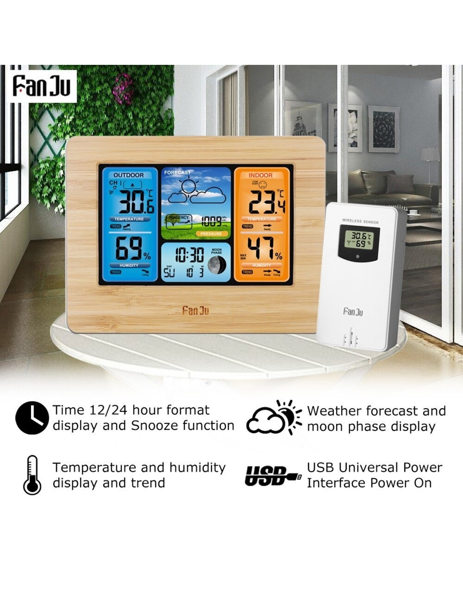 FanJu FJ3373 Digitaal Weerstation