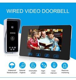 Merkloos Deurbel met 7 inch scherm - Intercom met draad Deurintercom - 7 inch kleurenmonitor