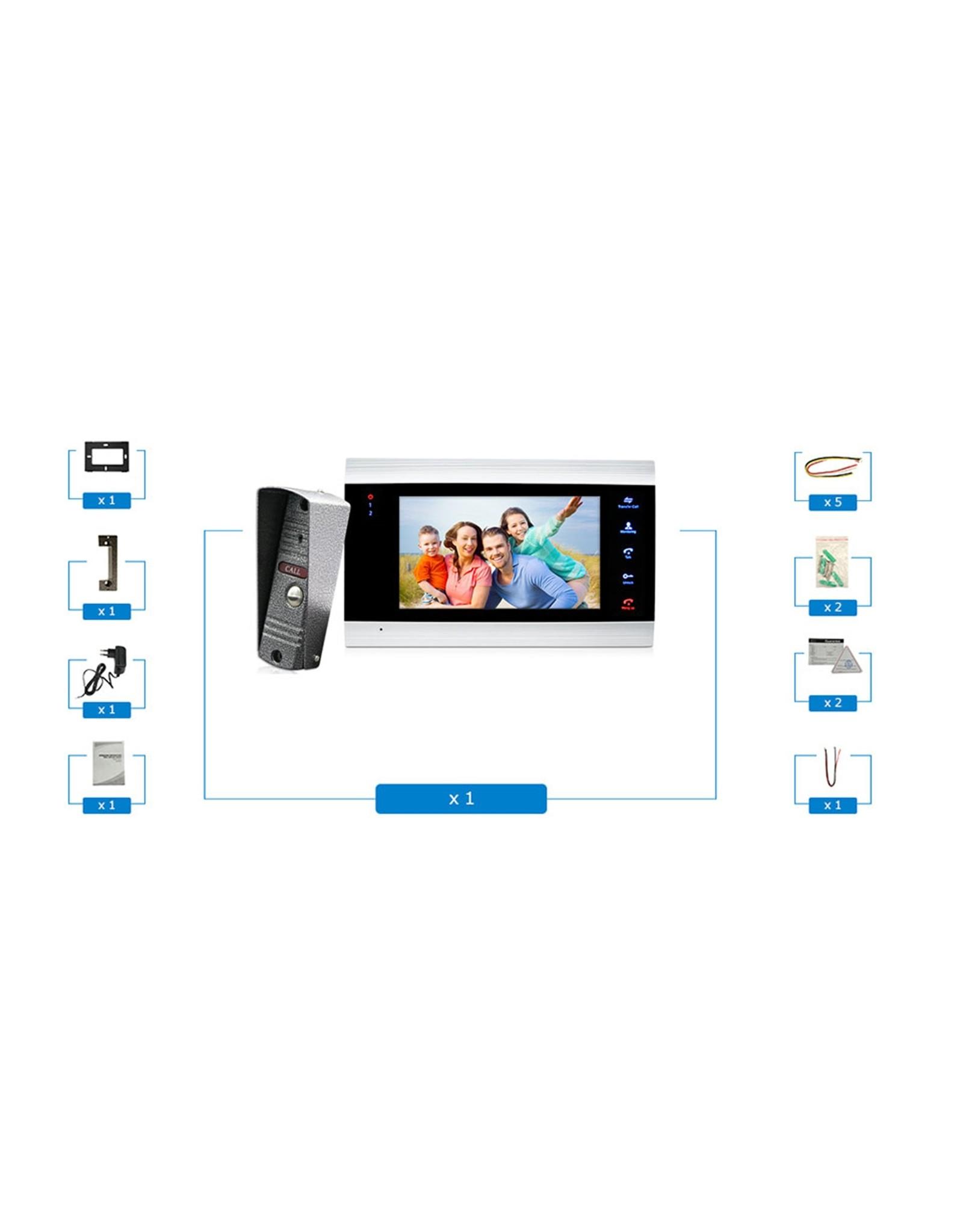 Merkloos Intercom met draad Deurintercom - 7'' inch kleurenmonitor en 1200TVL video/foto camera
