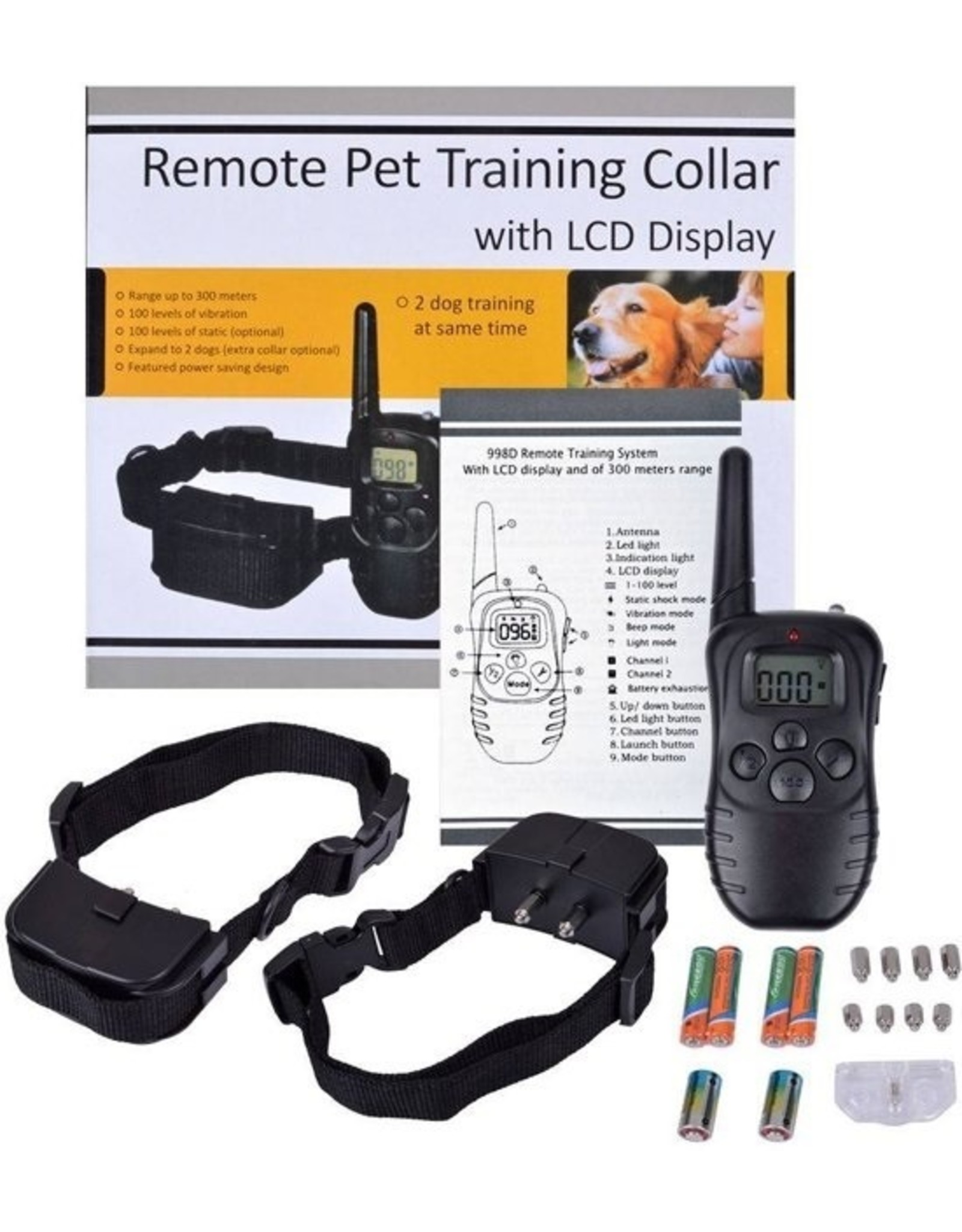 Merkloos Trainingsband Trainingshalsband 100 levels voor 2 honden