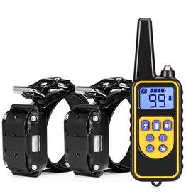 Merkloos Trainingshalsband - trainingsband - teletac 800m oplaadbaar - Voor 2 honden
