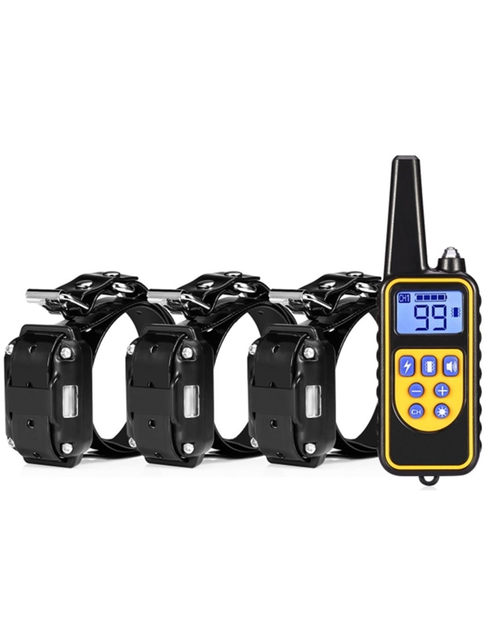 Trainingshalsband - trainingsband - teletac 800m oplaadbaar - Voor 3 honden