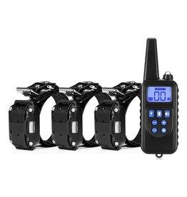 Merkloos Trainingshalsband - trainingsband voor u hond met afstandsbediening – Waterdicht - Oplaadbaar - Trainingsband 998DR - 100 levels - 300 meter - Halsband 25 tot 58 cm - Voor 3 honden