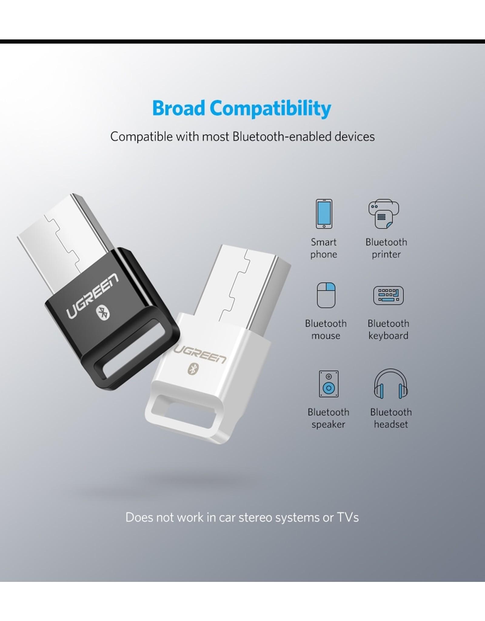 UGREEN USB 2.0 Bluetooth-adapter APTX Bluetooth V4.0 dongle audio-ontvanger Bluetooth-zend- Wit