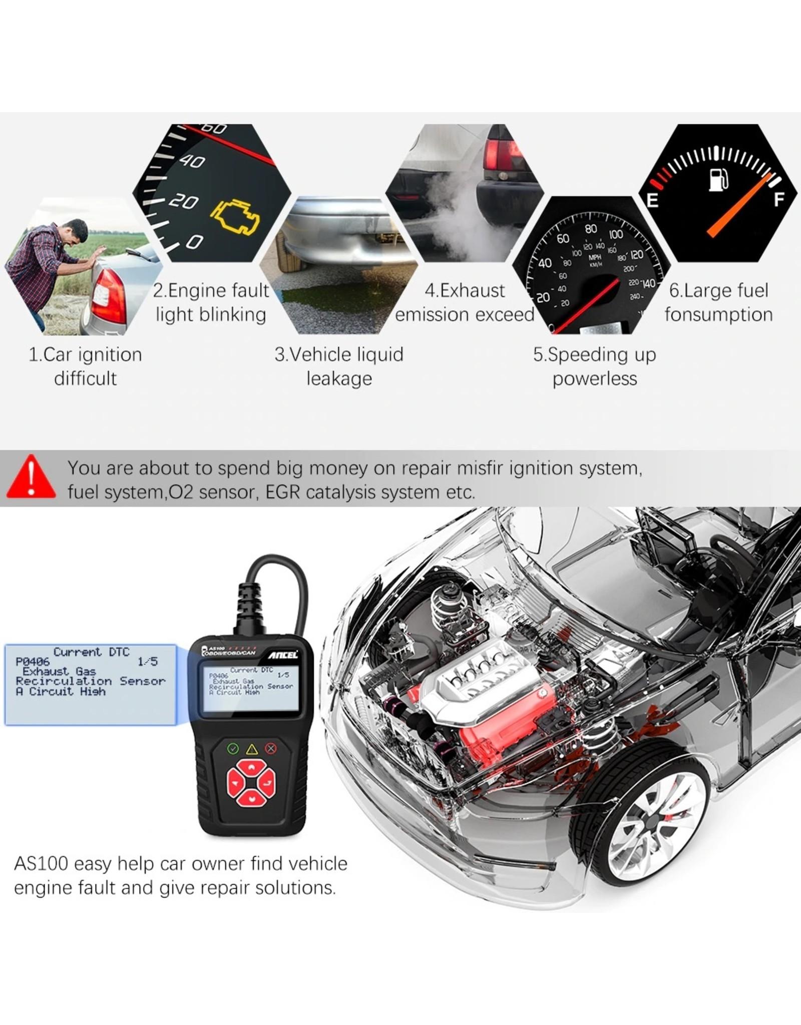 ANCEL AS100 VAG Diagnosecomputer - OBD II - OBD2 - EOBD - CAN Handscanner – Diagnoseapparatuur