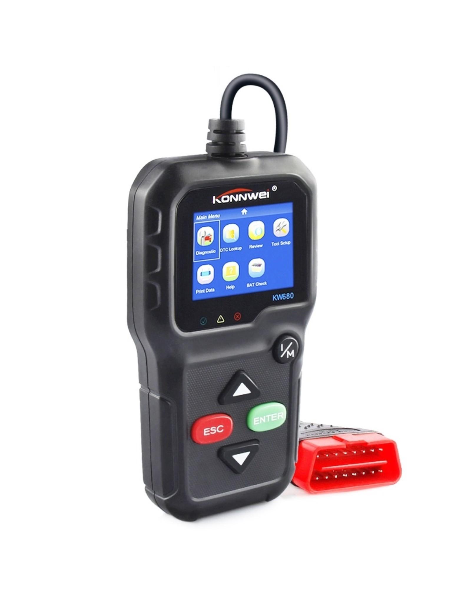 Merkloos KW680 Diagnosecomputer - OBD2 - EOBD - CAN Handscanner – Diagnoseapparatuur - Motorstoring Codelezer - OBD-scanner