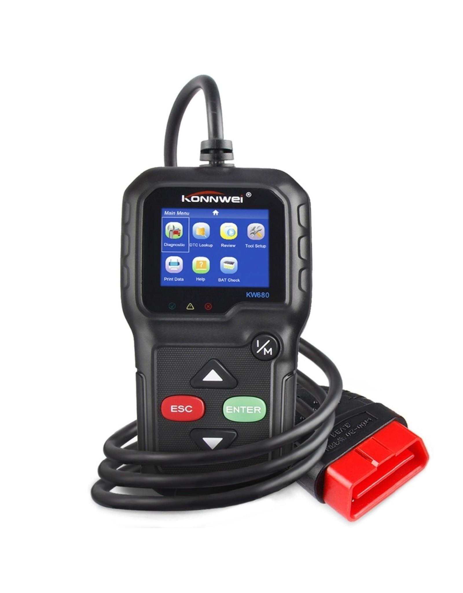 KW680 Diagnosecomputer - OBD2 - EOBD - CAN Handscanner – Diagnoseapparatuur - Motorstoring Codelezer - OBD-scanner