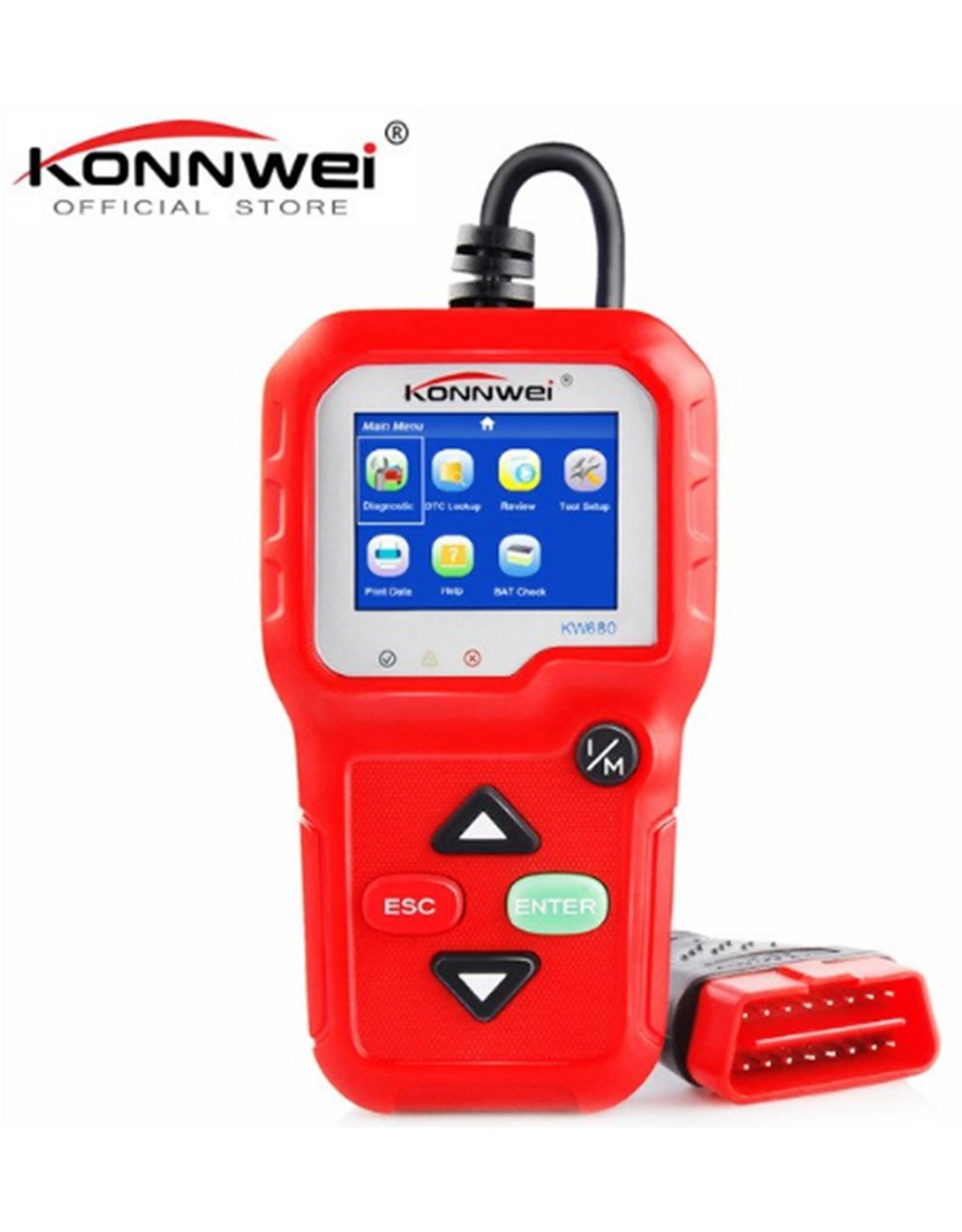 KW680 Diagnosecomputer - OBD2 - EOBD - CAN Handscanner – Diagnoseapparatuur - Motorstoring Codelezer - OBD-scanner – Kleur: Rood