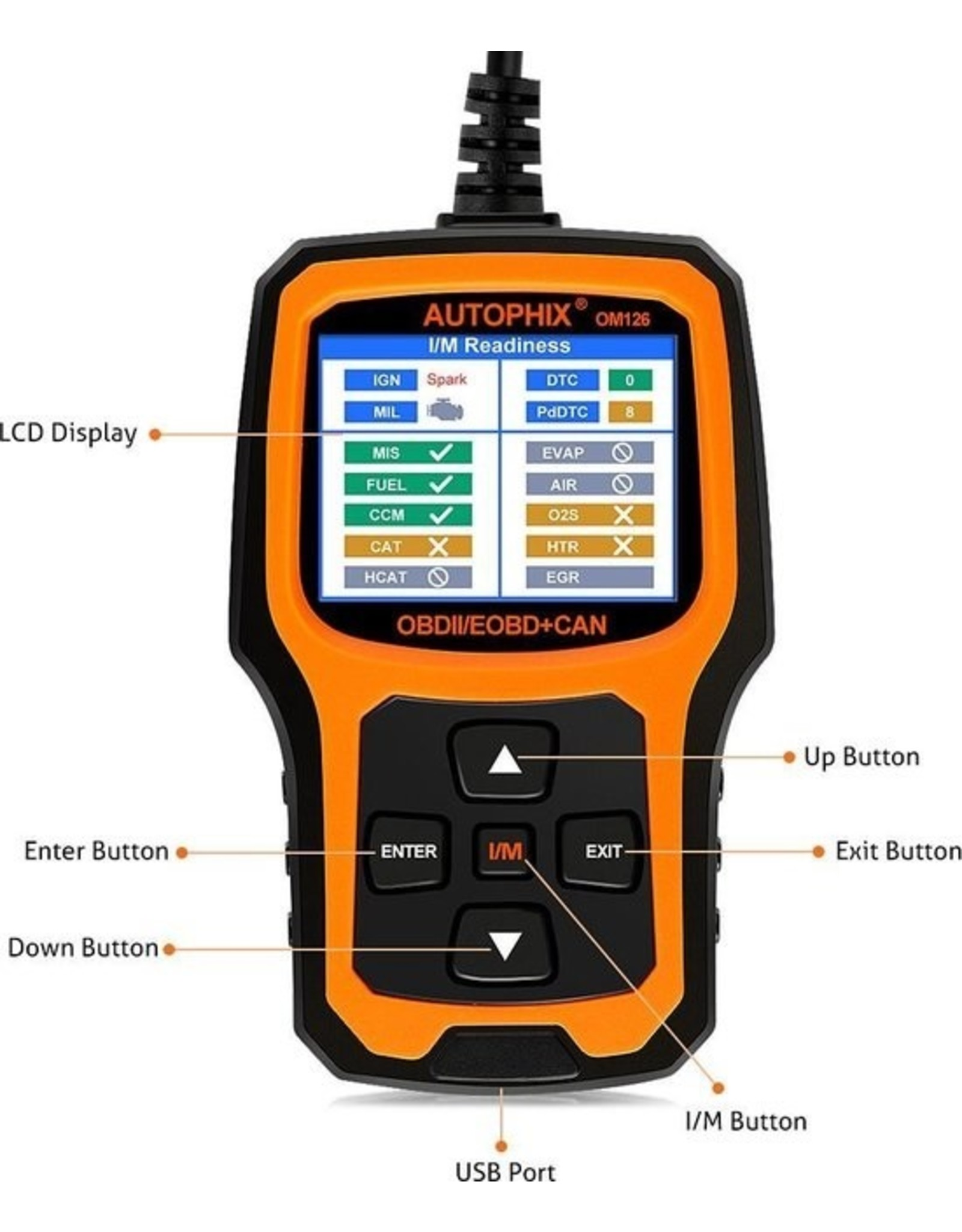 Merkloos Autophix OBD2 / EOBD Diagnosecomputer   Uitleesapparaat OM126 - Volledig origineel