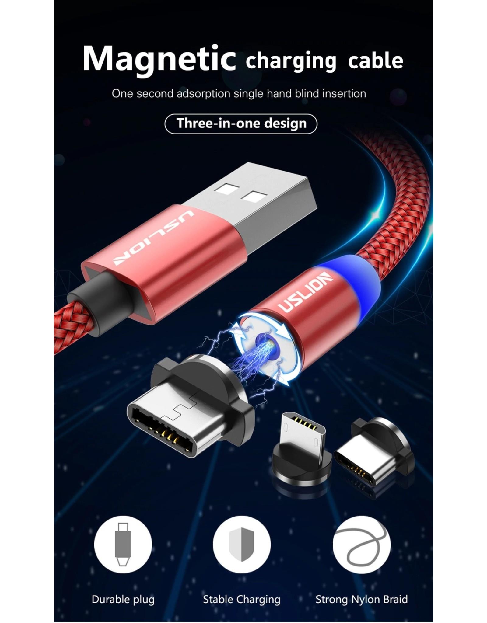 Magnetische Oplaadkabel - Magneet met Type-C adapter - 360 graden – Laadkabel draaibaar