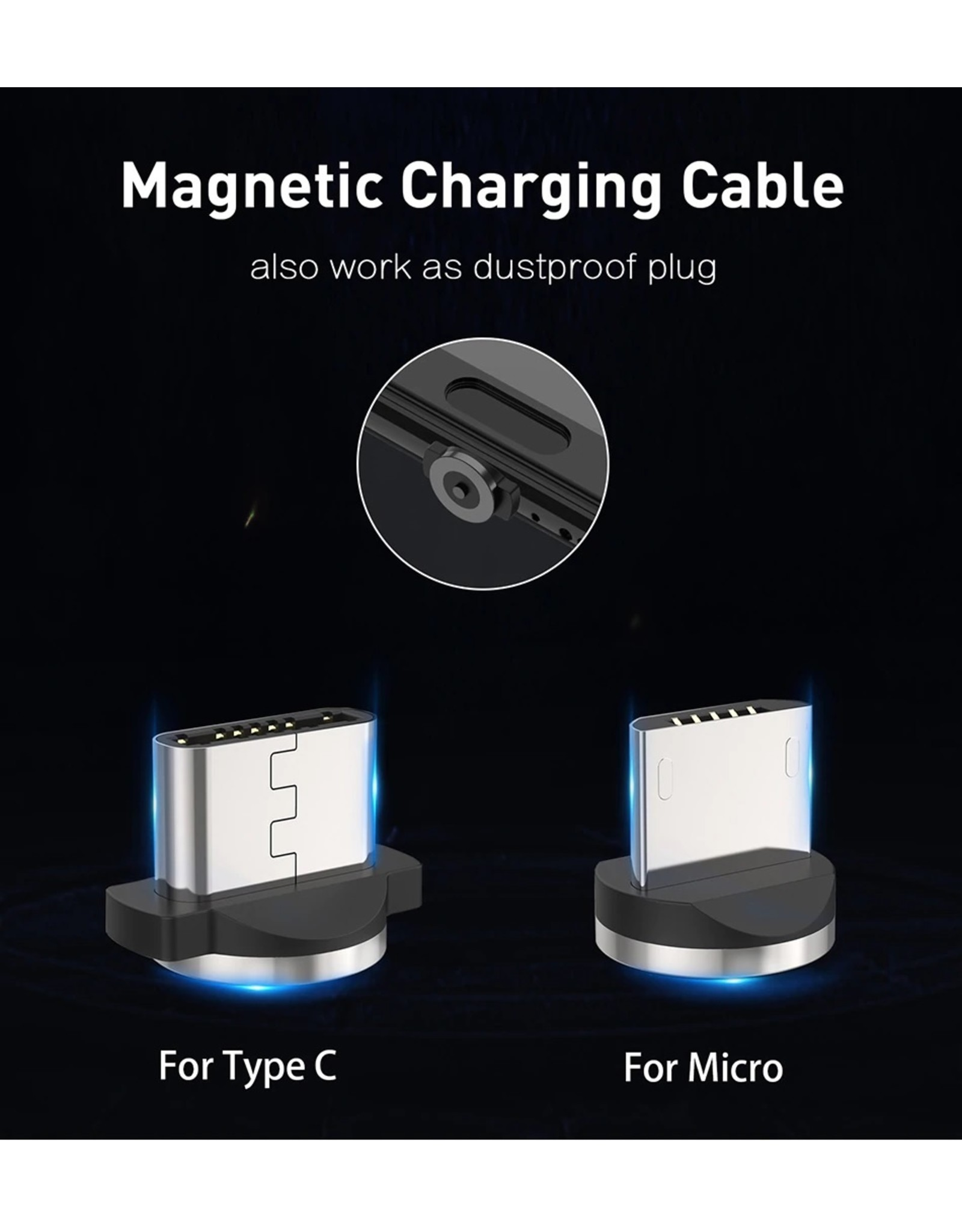 Magnetische Oplaadkabel - Magneet met Micro-USB adapter - 360 graden – Laadkabel draaibaar