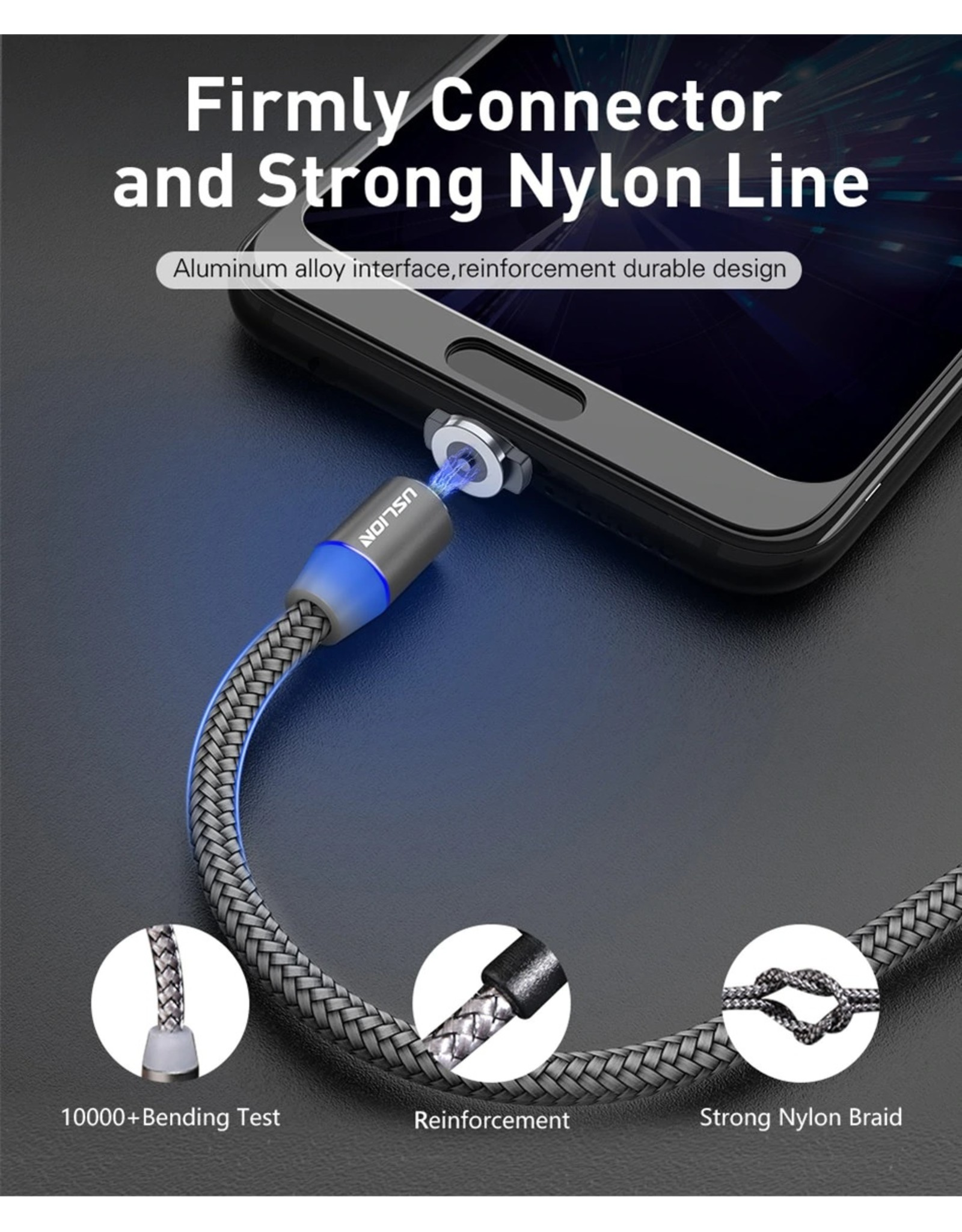 Merkloos Magnetische Oplaadkabel - Magneet met USB Type-C adapter - 360 graden – Laadkabel draaibaar