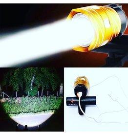 Merkloos Goude Ultieme Led Fietslamp - Oplaadbaar via USB - Super fel - 3 standen & zoom