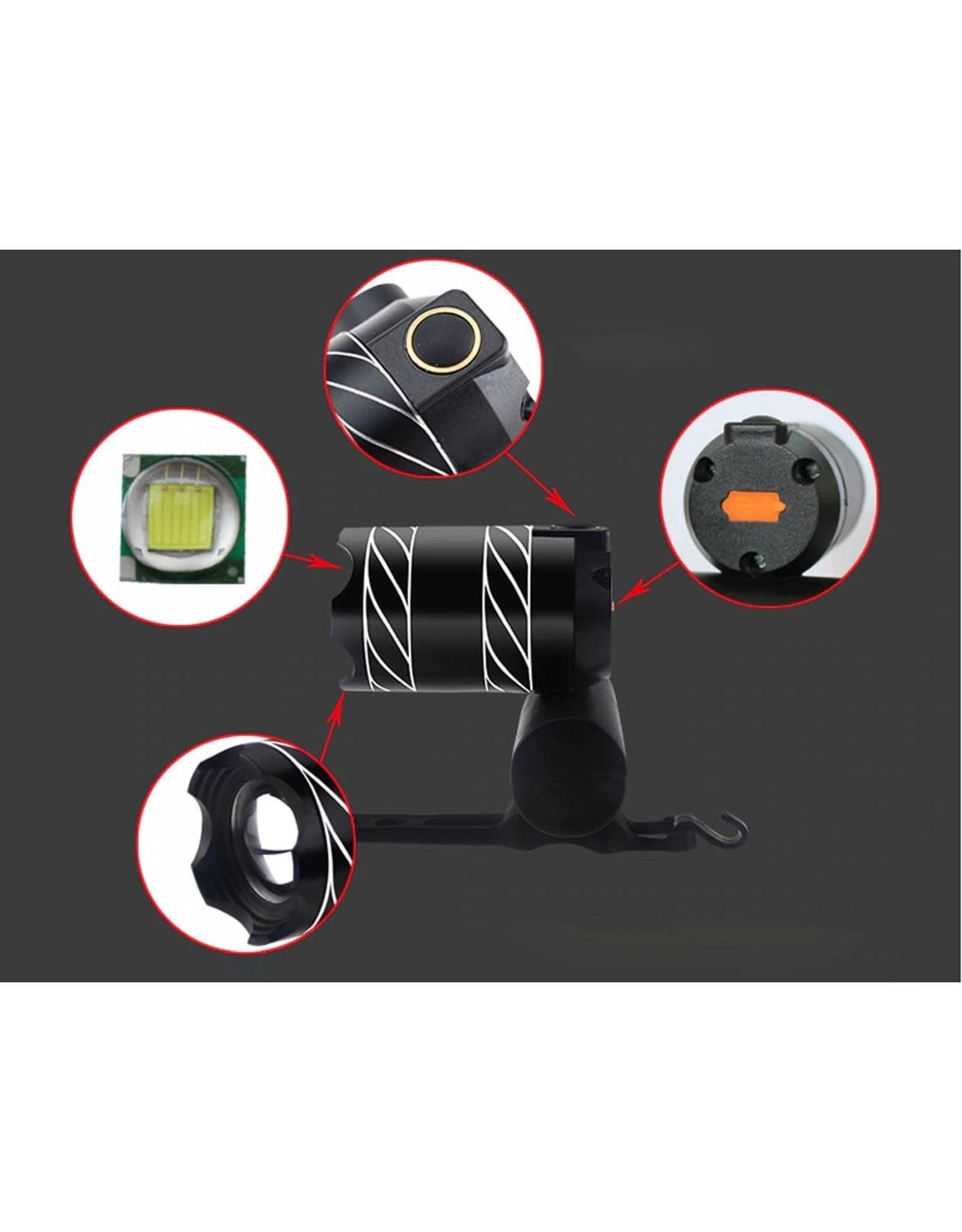 450 Lumen LED – Led Fietslamp - Oplaadbaar via USB - Super fel - Ultieme Led Fietslamp - 3 standen & zoom - Zwart