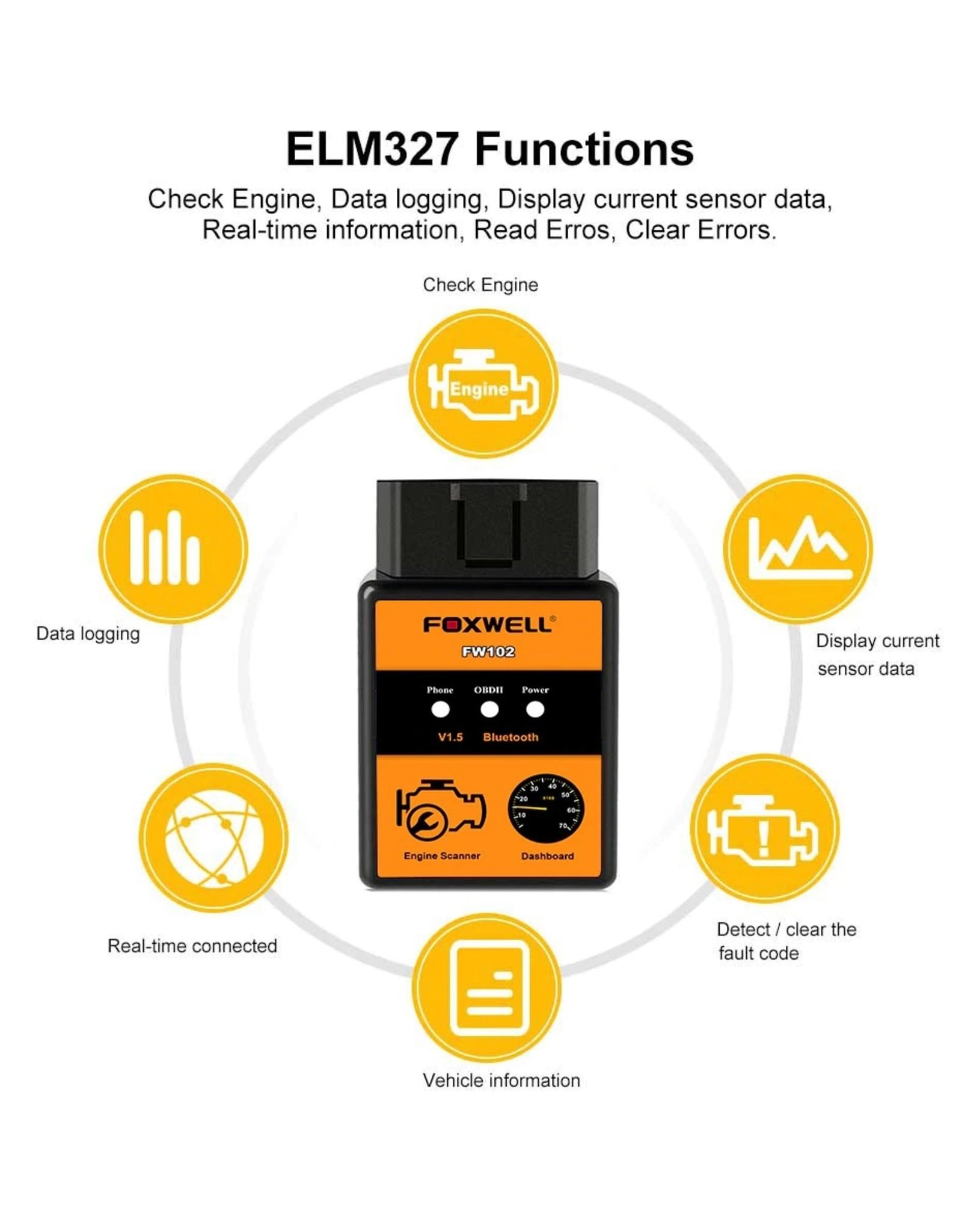 FOXWELL FW102 - V1.5 ELM327 codelezer – Bluetooth scanner - OBD2 scanner - diagnose gereedschap - tool