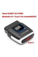 Viecar VP003 ELM327 V2.2 bluetooth 4.0 met Type C USB-interface OBD2 EOBD Auto diagnostisch scanner hulpmiddel OBD II Auto codelezer voor Android / IOS USB OBD