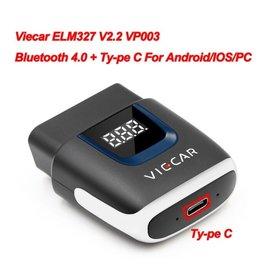 Merkloos Viecar VP003 ELM327 V2.2 bluetooth 4.0 met Type C USB-interface OBD2 EOBD Auto diagnostisch scanner hulpmiddel OBD II Auto codelezer voor Android / IOS USB OBD