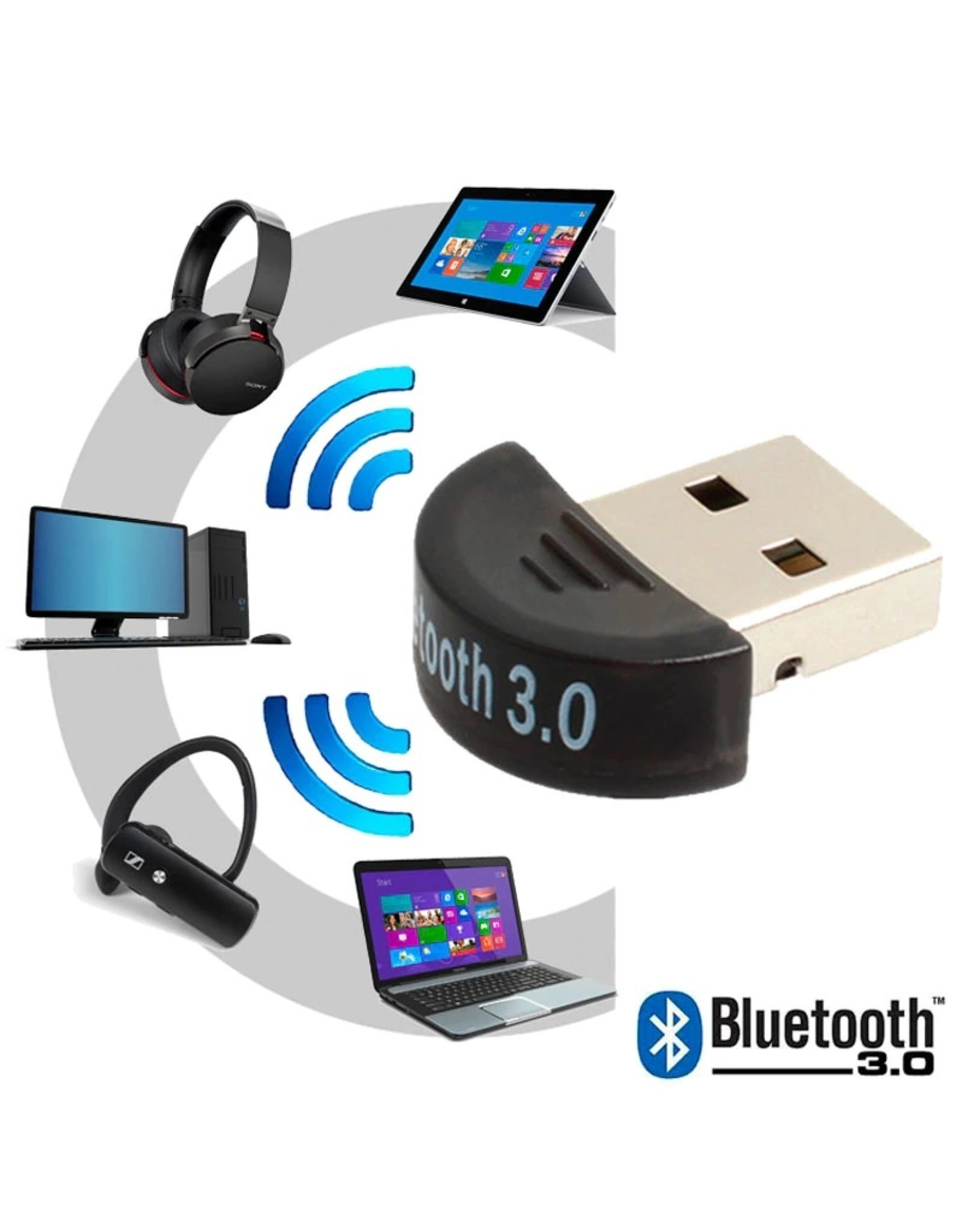 Bluetooth CSR 3.0 Dongle - Mini Bluetooth 3.0 USB Adapter – Dongle - Bluetooth adapter - draadloze dongle - verbind meerdere bluetooth apparaten