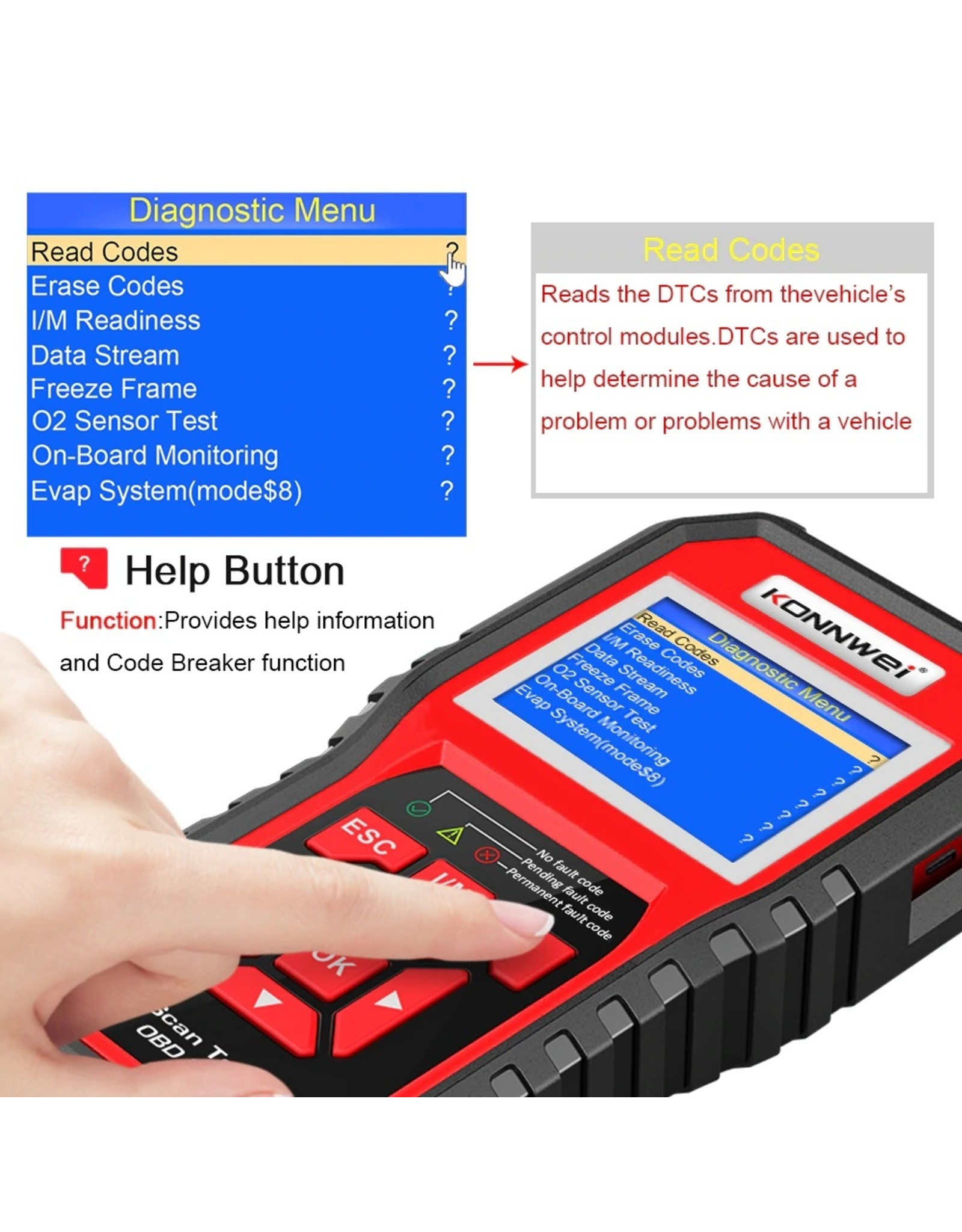 Konnwei OBD2 Diagnoseapparaat, scanner, codelezer, professionele OBDII EOBD-autoscanner (KW850)