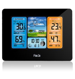 Merkloos FanJu FJ3378 Digitale wekker Weerstation Binnen Buiten Temperatuur-vochtigheidsmeter Maanfase Weersverwachting USB-oplader